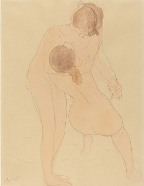 Auguste Rodin, Two Figures, French, 1840 - 1917, c. 1905, graphite with wash, Gift of Mrs. John W. Simpson